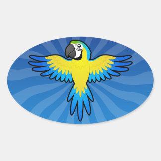 Cartoon Macaw / Parrot Oval Sticker