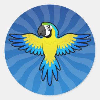 Cartoon Macaw / Parrot Round Sticker