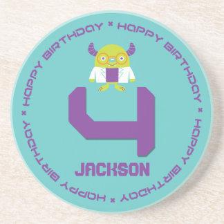 Cartoon Mad Scientist Aqua Happy 4th Birthday Beverage Coaster
