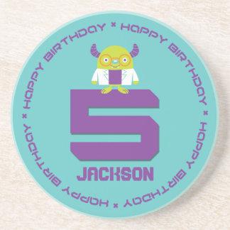 Cartoon Mad Scientist Aqua Happy 5th Birthday Drink Coasters