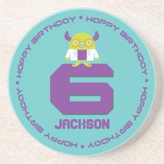 Cartoon Mad Scientist Aqua Happy 6th Birthday Coasters