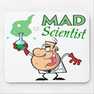 cartoon mad scientist mouse pads