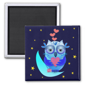 Cartoon magnet Owl in Love on the moon
