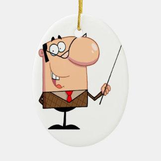 cartoon male teacher character christmas ornament