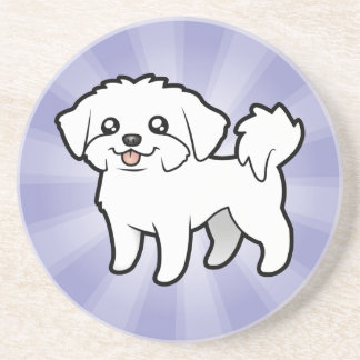 Cartoon Maltese (puppy cut) Coaster