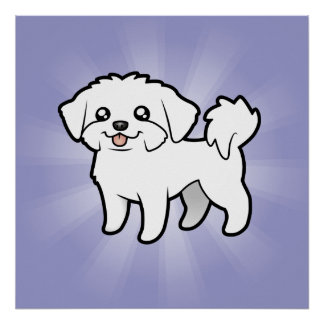 Cartoon Maltese (puppy cut) Poster