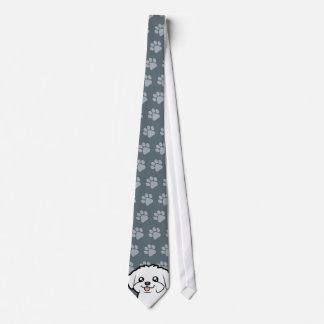 Cartoon Maltese (puppy cut) Tie