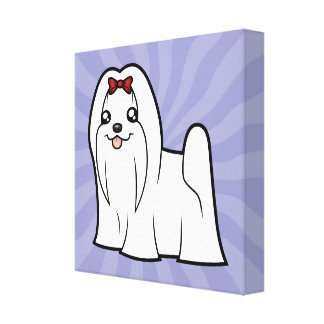 Cartoon Maltese (show cut) Gallery Wrap Canvas