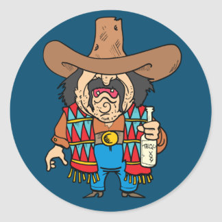 cartoon man drinking tequila round sticker