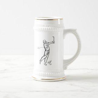 Cartoon Man Golfing Coffee Mug