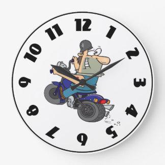 Cartoon Man On A Motorcycle Clock