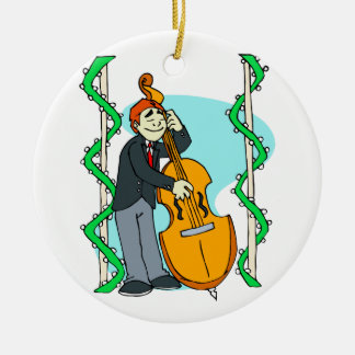 Cartoon man playing upright bass by backdrop christmas ornament