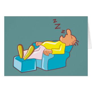 Cartoon Man Sleeping In Lounge Chair ZZZ Card