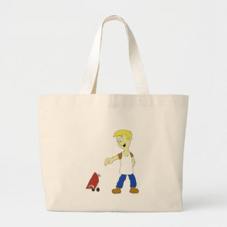 Cartoon Man With BBQ Grill Jumbo Tote Bag