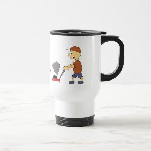Cartoon Man With Lawnmower Coffee Mugs