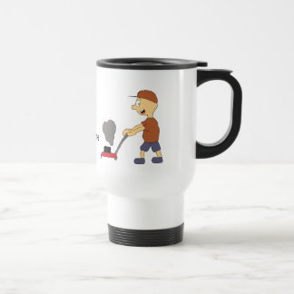 Cartoon Man With Lawnmower Travel Mug