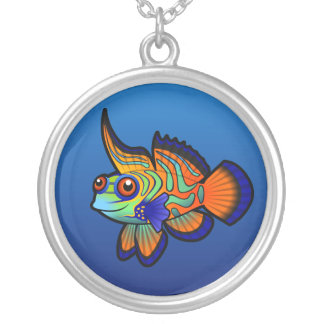 Cartoon Mandarin / Dragonet Fish Silver Plated Necklace