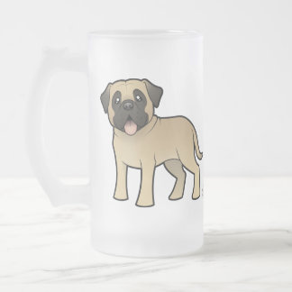 Cartoon Mastiff / Bullmastiff Frosted Glass Beer Mug