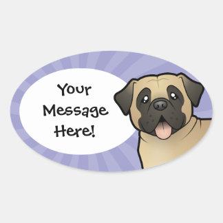 Cartoon Mastiff / Bullmastiff Oval Sticker