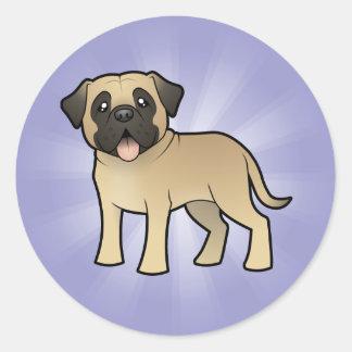 Cartoon Mastiff / Bullmastiff Round Sticker