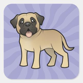Cartoon Mastiff / Bullmastiff Square Sticker