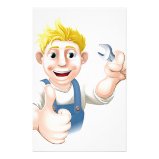 Cartoon mechanic or plumber with wrench stationery design