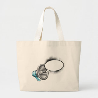Cartoon Megaphone and Speech Bubble Large Tote Bag