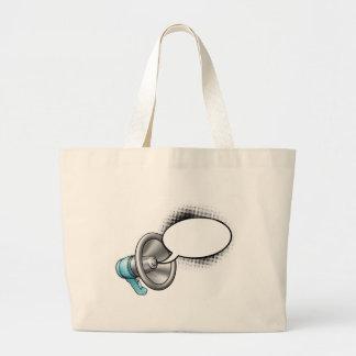 Cartoon Megaphone and Speech Bubble Large Tote Bag