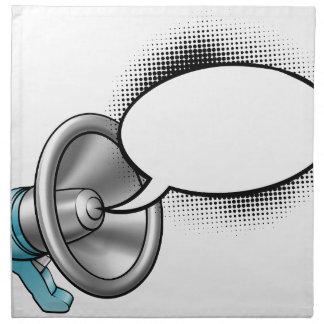 Cartoon Megaphone and Speech Bubble Napkin