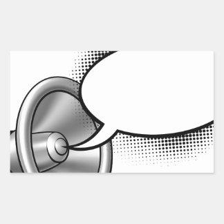 Cartoon Megaphone and Speech Bubble Rectangular Sticker