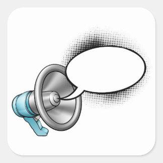 Cartoon Megaphone and Speech Bubble Square Sticker