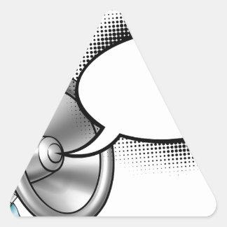 Cartoon Megaphone and Speech Bubble Triangle Sticker