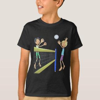 Cartoon Men Playing Volleyball T-Shirt