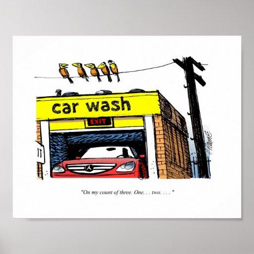 CARtoon Mercedes Car Wash Birds Posters