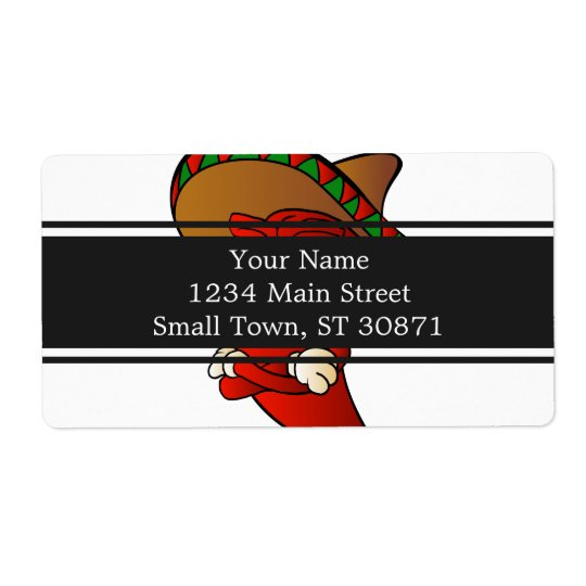 cartoon mexican pepper. shipping label