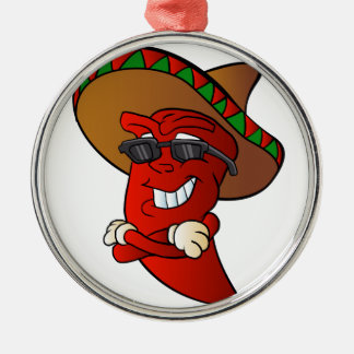 cartoon mexican pepper. Silver-Colored round decoration