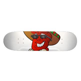 cartoon mexican pepper. skate board