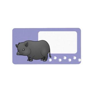 Cartoon Miniature Pig Address Label