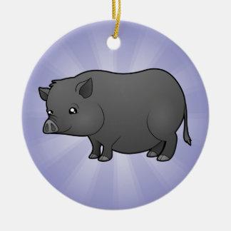 Cartoon Miniature Pig Round Ceramic Decoration