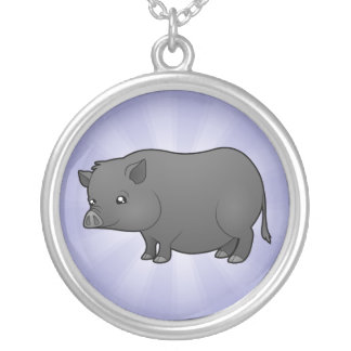 Cartoon Miniature Pig Silver Plated Necklace