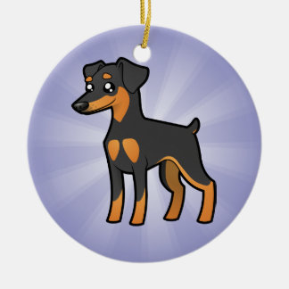 Cartoon Miniature Pinscher / Manchester Terrier Christmas Ornament