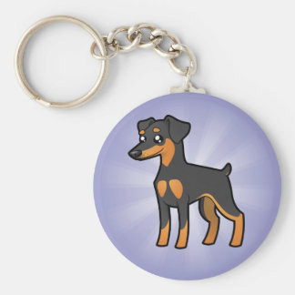 Cartoon Miniature Pinscher / Manchester Terrier Key Ring