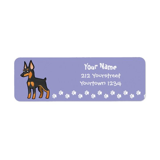 Cartoon Miniature Pinscher / Manchester Terrier Return Address Label