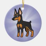 Cartoon Miniature Pinscher / Manchester Terrier Round Ceramic Decoration