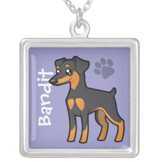 Cartoon Miniature Pinscher / Manchester Terrier Silver Plated Necklace