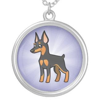 Cartoon Miniature Pinscher / Manchester Terrier Silver Plated Necklace