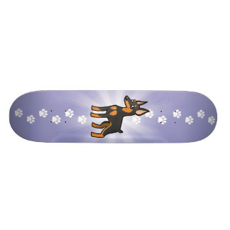 Cartoon Miniature Pinscher / Manchester Terrier Skate Deck