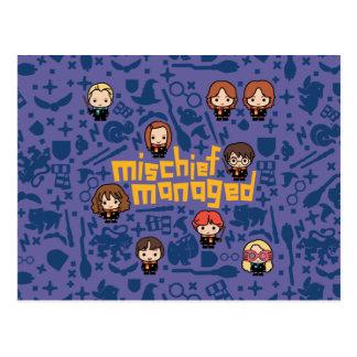 """Cartoon """"Mischief Managed"""" Graphic Postcard"""