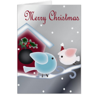 Cartoon mistletoe Love Birds Our First Christmas Card