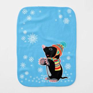 cartoon mole baby burp cloths